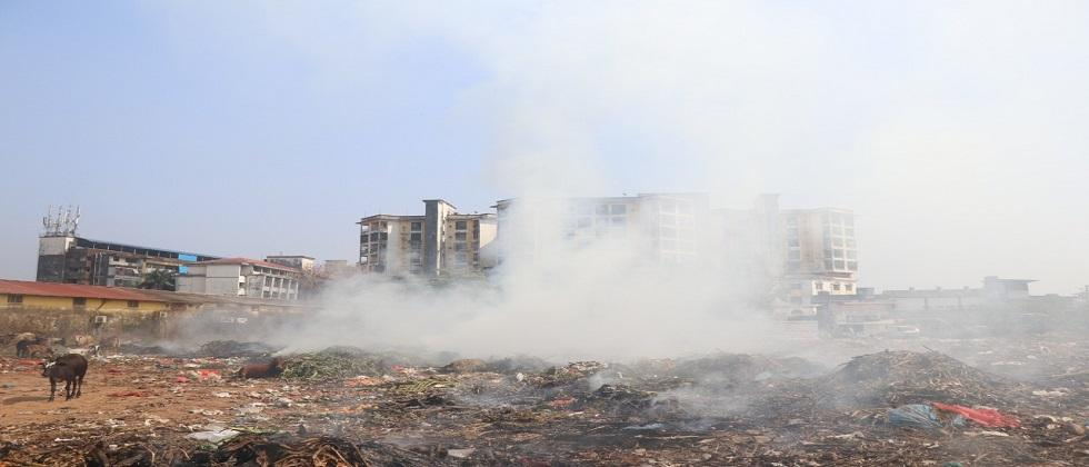 Garbage dumped behind the Mhapusa yard caught fire