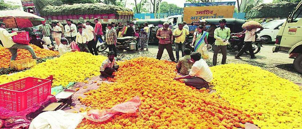 Marigold flowers adorn streets and markets