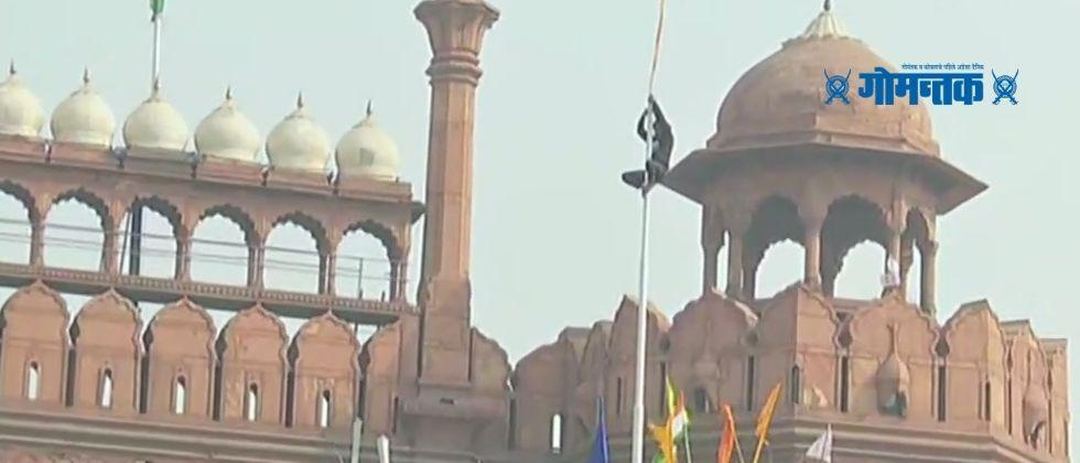 Tractor parade in Delhi Farmers reached red fort and hoisted the protest flag