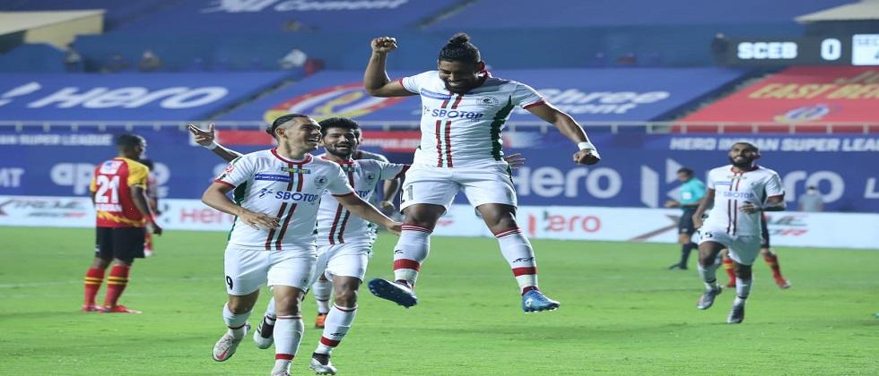ATK Mohun Bagan beats East bengal  by 2 - 0  in ISL match played in Vasco
