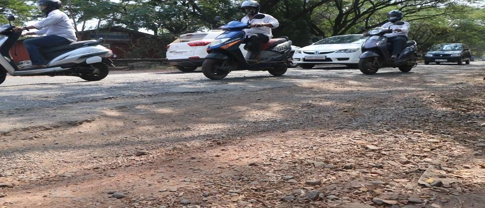 Bad condition of roads in Panaji which is a smart city