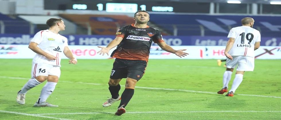 Northeast united draws yesterdays match played in fatorda with FC Goa by 1 - 1 goals