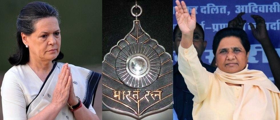 Congress leader Harish Rawat has demanded Bharat Ratna for UPA chairperson Sonia Gandhi and  BSP supremo Mayawati.