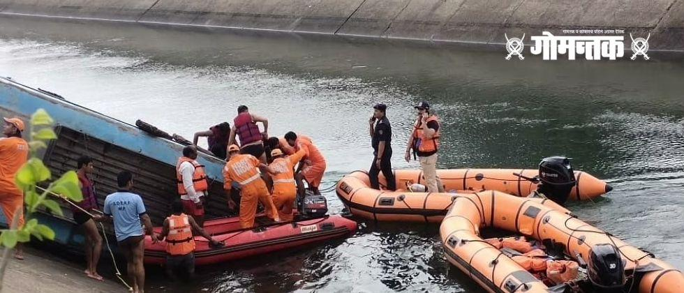 Terrible accidents in Madhya Pradesh The bus fell into the canal 39 passengers dead