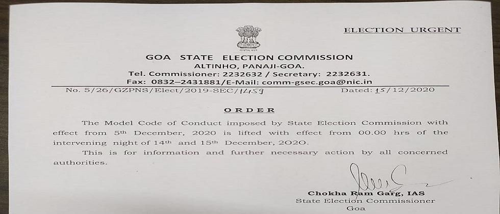withdrawn the code of conduct implemented in Goa for Zilla Panchayat elections