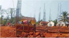 The ongoing construction of a new building in place of old Panchayat building.