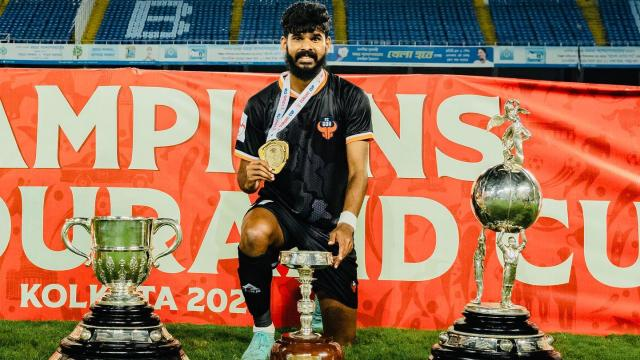 Princeton Rebello with 2021 Durand Cup trophy in Kolkata