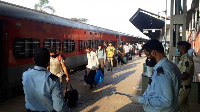 A Shramik express arrives at Margao railway station earlier this month.
