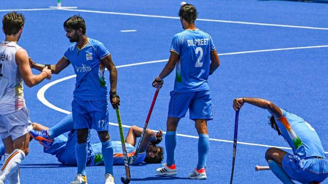 Indian players react after their men's field hockey semifinal match against Belgium, at the 2020 Summer Olympics, in Tokyo, Tuesday, Aug. 3, 2021. India lost the match 2-5. (PTI)