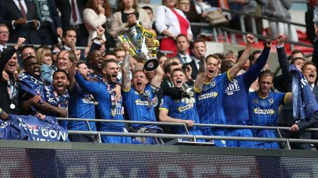 The emotions of the team are through the roof as AFC Wimbledon win the League 2 final (AFC Wimbledon official website)