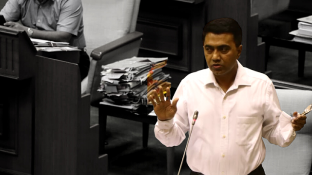 Pramod Swant speaking during the Goa monsoon assembly session on Friday, July 30, 2021
