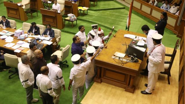 Ruckus during the Goa Monsoon assembly session on Friday, July 30, 2021