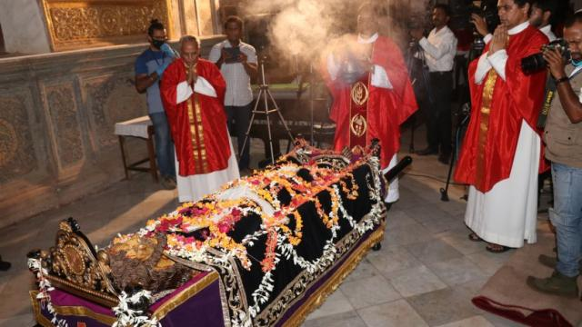 Main celebrant Fr Seby Vaz,Parish Fr Priest Alfred Vas,FrSaturnino Dias observed Good Friday at Se Cathedral Old Goa, with hardly 10 devotees and session was telecasted on local news channels due to lockdown. Pic: Atish Naik