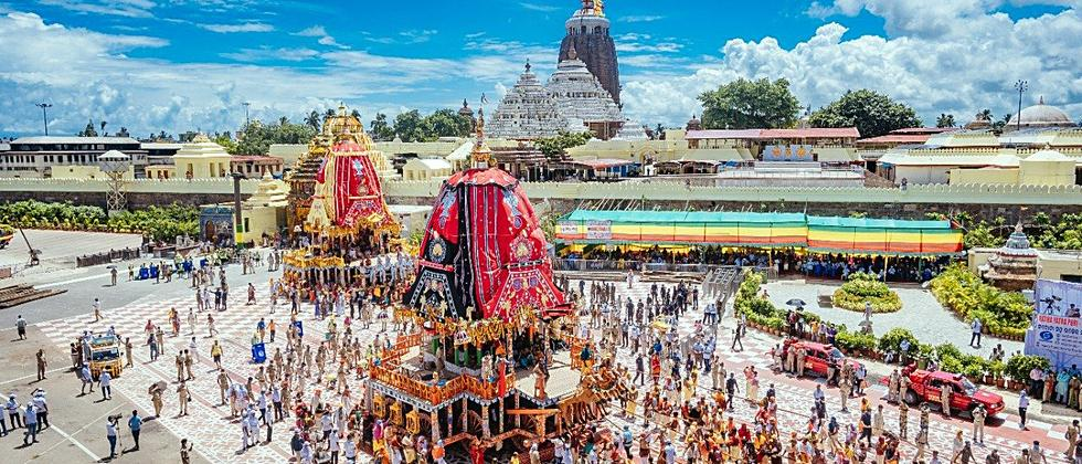 Lord Jagannath Annual Rath yatra festival held, without the participation of Devotees, in Puri on Monday. (ANI Photo)
