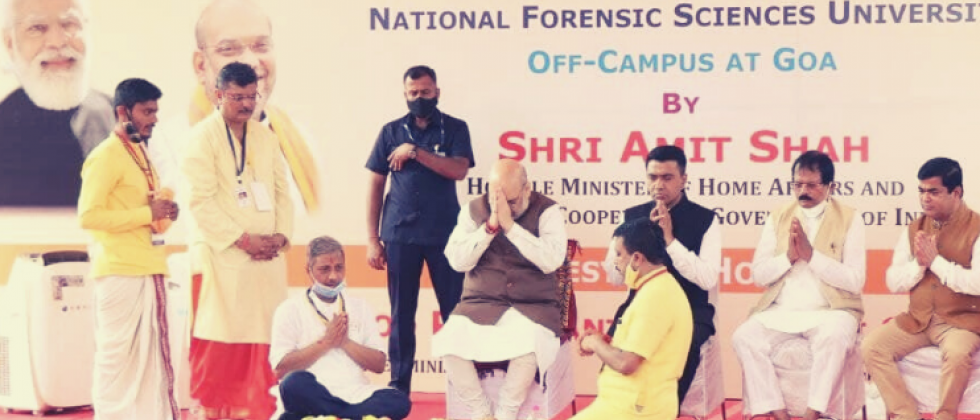 Union Home Minister Amit Shahlaid the foundation stone for National Forensic Science University at Dharbandora  on Thursday, October 14, 2021