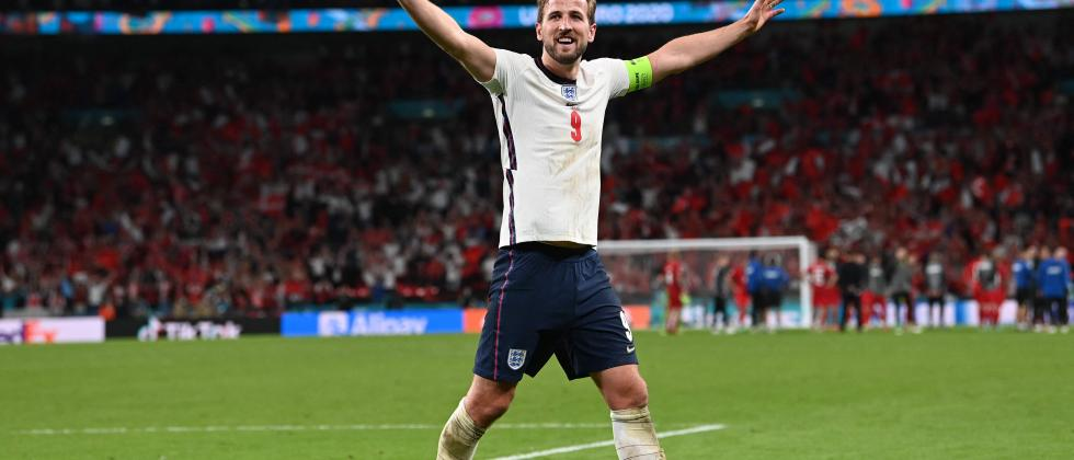England's forward Harry Kane celebrates after winning during the UEFA EURO 2020 semi-final football match between England and Denmark at Wembley Stadium in London on July 7, 2021. (AFP)