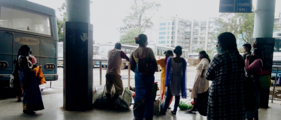 Paasengers wait at KTC bus stand in Panjim on Monday, September 13, 2021.png