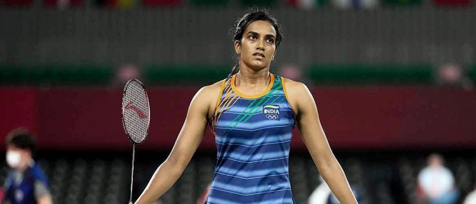 PV Sindhu plays against Japan's Akane Yamaguchi during their women's singles badminton quarterfinal match, at the Tokyo Olympics 2020