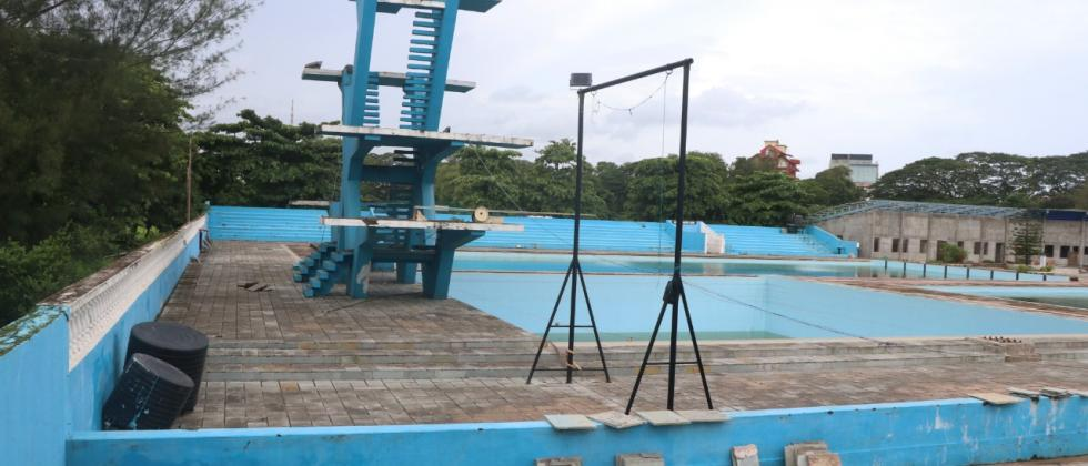 Ongoing work of the swimming pool project at Campal