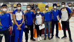 Indian contingent ready to leave for the Games Village ahead of the Tokyo2020 Olympics, in Tokyo on Sunday