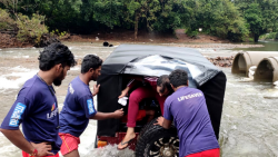 Drishti lifeguards rescued five tourists from Delhi after their vehicle got stuck in a river near Dudhsagar waterfalls on Wednesday, September 23