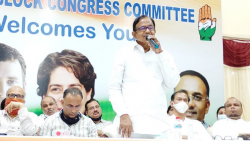 P Chidambaram Speaking at a Congress party meeting in Mandrem