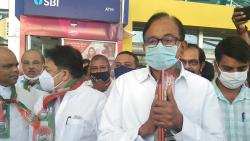 P Chidambaram arrives at Dabolim Airport in Goa on Wednesday, August 25, 2021