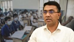 Chief Minister Pramod Sawant speaking during a press conference in Goa.