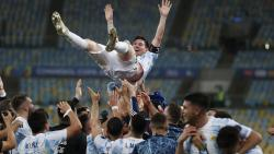 Teammates lift Argentina's Lionel Messi after beating Brazil 1-0 in the Copa America final