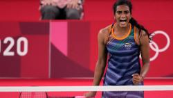 India's Pusarla V. Sindhu plays against Japan's Akane Yamaguchi during their women's singles badminton quarterfinal match at the 2020 Summer Olympics, Friday, July 30, 2021, in Tokyo, Japan. (PTI)