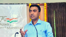 Chief Minister Pramod Sawant speaking at an event