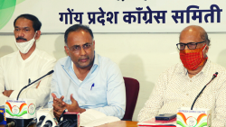 All India Congress Committee (AICC) Goa Desk in-charge Dinesh Gundu Rao along with Girish Chodankar and Digambar Kamat addressed a press conference on Monday, September 27, 2021
