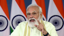 Prime Minister Narendra Modi addresses as he dedicates 35 crop varieties with special traits to the nation, through video conferencing, in New Delhi on Tuesday.
