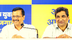 Goa AAP state convenor Rahul Mhambre and Delhi Chief Minister Arvind Kejriwal addressing a press conference