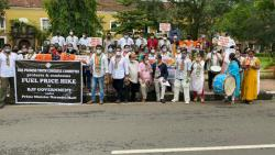 Goa Congress took out a protest in Panjim to protest against rising fuel prices (Twitter/@IYCGoa)
