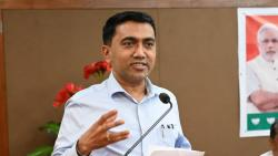 Pramod Sawant speaking during a party event