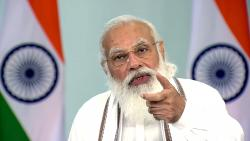 Prime Minister Narendra Modi addresses during the launch of the e-RUPI, an electronic voucher-based digital payment system via video conferencing, in New Delhi on Monday.