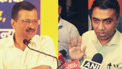 Delhi Chief MInister Arvind Kejriwal and Goa Chief Minister Pramod Sawant (L to R)