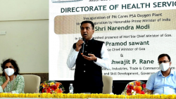 Chief Minister Pramod Sawant speaking during inaguration ceremony of oxygen plant at South Goa District Hospital on Thursday, October 7, 2021