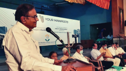 P. Chidambaram on Thursday held an open house session regarding drafting the party's manifesto for the upcoming elections. at Adarsh Hall in Margao