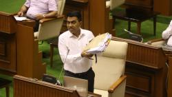 Pramod Swant speaking during the Goa monsoon assembly session on Wednesday, July 28, 2021
