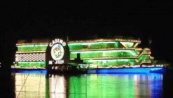 Casino are decked up on Mandovi river on Sunday on the eve of their opening in Goa