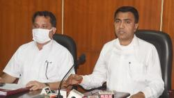 Chief Minister Pramod Sawant during a press briefing along with Power Minister Nilesh Cabral on Wednesday.