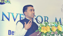 Chief Minister Pramod Sawant speaking at the Investors Meet of EMC in Tuem on Friday, Thursday 24, 2021
