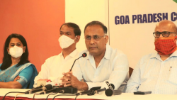 Goa Congrss desk in charge Dinesh Gundu Rao addressing a press conference in Panaji along with the party's state unit chief Girish Chodankar and Leader of Opposition Digambar Kamat,