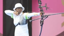 India's Deepika Kumari competes in the women's individual 1/8 eliminations round of the archery event, at the Summer Olympics 2020, in Tokyo, Friday, July 30, 2021. Deepika defeated Ksenia Perova of Russian Olympic Committee. (PTI)