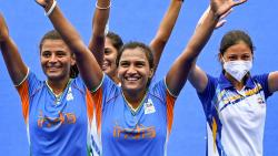 Indian players including the captain Rani Rampal, celebrate their victory against Australia during women's field hockey quarterfinal match at the 2020 Summer Olympics, in Tokyo, Monday, Aug. 2, 2021 (PTI)