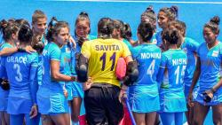 Indian players huddle after losing their women's field hockey bronze medal match against Great Britain, at the 2020 Summer Olympics, in Tokyo, Friday, Aug. 6, 2021. India lost the match 3-4.