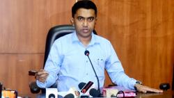 Chief Minister Pramod Sawant speaking in a press conference on Wednesday, August 26, 2021
