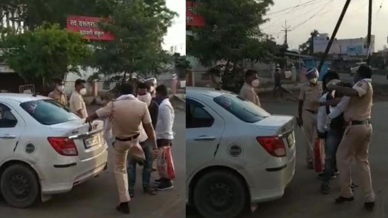 Video of Police Officer Beating Youth gone viral in Parbhani